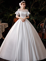 cheap -Princess Ball Gown Wedding Dresses Jewel Neck Floor Length Satin Short Sleeve Formal Simple with Lace Bow(s) Pleats 2020