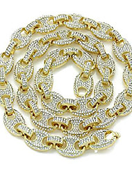 cheap -men's bling icy mariner link necklace/bracelet gold finish lab created diamonds 12mm (8.5-30 inches) (chain 24'')