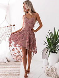 cheap -A-Line Elegant Floral Party Wear Cocktail Party Dress Spaghetti Strap Sleeveless Asymmetrical Tulle with Appliques 2021