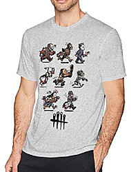 cheap -Men's Tees T shirt Graphic Cartoon Characters Short Sleeve Party Tops Cotton Sporty Basic Casual White 2# White 3# White
