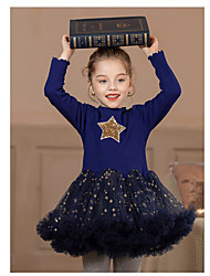 cheap -Kids Girls' Cute Patchwork Printed Mesh Print Long Sleeve Above Knee Dress Royal Blue