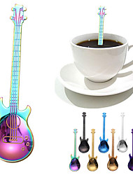 cheap -Coffee Spoon Stainless Steel Guitar Spoons Set of 3 and 6 Rainbow Coffee Tea Ice cream Dessert Spoon Flatware Drinking Tools Kitchen Tableware