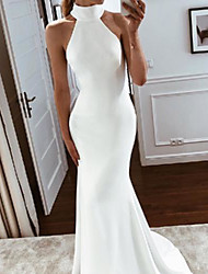 cheap -Mermaid / Trumpet Wedding Dresses Halter Neck Sweep / Brush Train Stretch Fabric Sleeveless Simple with 2021