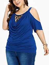 cheap -Women's Plus Size Lace Plain Blouse Shirt Large Size Round Neck Short Sleeve Tops Big Size