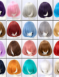 cheap -Cosplay Costume Wig kinky Straight Short Bob Neat Bang Glueless Lace Front Wig Short A15 A16 A17 A18 A19 Synthetic Hair Women's Classic Fashion Red Pink