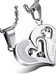 cheap -stainless steel couple necklace rhinestone i love you heart puzzle matching pendant with chain