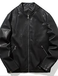 cheap -Men's N / A Fall Jacket Regular Dailywear PU Leather Coat Tops Black