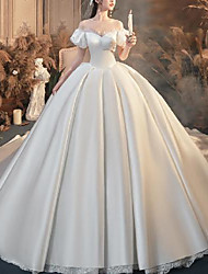 cheap -Princess Ball Gown Wedding Dresses Off Shoulder Watteau Train Satin Short Sleeve Country Formal Simple with Lace Pleats Beading 2020