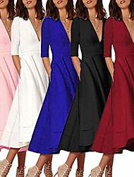 cheap -ladies dress sale 2019 women's long ball gown prom ladies evening party swing dress wine