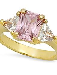 cheap -gold plated emerald-cut light blush pink cz three-stone ring, size 4 + microfiber