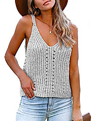 cheap -womens summer v neck sleeveless tank top casual pointelle racerback blouse hollow out loose knit sweater vest gray