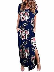 cheap -ulanda-eu womens summer dresses ladies fashion short sleeve floral printed sexy beach holiday party long split maxi dress blue