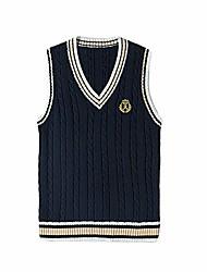 cheap -women knitted gilet sweater vest sleeveless v-neck jumper school uniform cosplay costume knitwear tank top dark blue