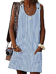 cheap -womens striped scoop neck sleeveless button holiday vacation t-shirt shift vest dress plus size x-large(fits like us14-16) stripes-blue