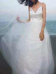 cheap -A-Line Wedding Dresses V Neck Ankle Length Satin Tulle Sleeveless Simple Beach with Pleats 2020