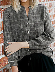 cheap -Women's Plus Size Tops Blouse Shirt Houndstooth Large Size Standing Collar Long Sleeve Big Size