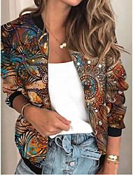 cheap -Women's Geometric Patchwork Streetwear Spring &  Fall Jacket Regular Sports Long Sleeve Rayon Coat Tops Khaki