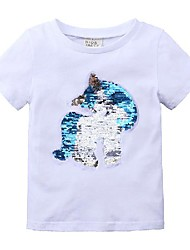 cheap -Kids Girls' Basic Solid Colored Sequins Short Sleeve Tee White