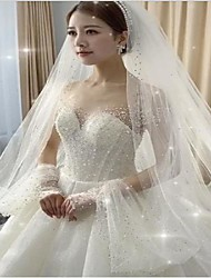 cheap -One-tier Stylish Wedding Veil Chapel Veils with Beading / Crystals / Rhinestones Tulle