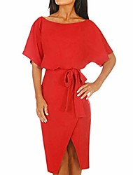 cheap -summer mini dress,lianmengmvp women short sleeve cocktail dresses wrap waist tie split dress sundress for holiday work red