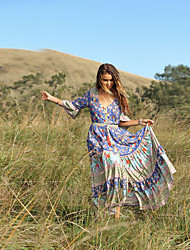 cheap -Plus Size Women's Sundress Maxi long Dress Long Sleeve Floral Patchwork Spring & Summer Casual Cotton Blend Relaxed Fit cm to inches Big and tall