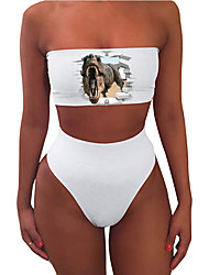 cheap -Women's New Sexy Tankini Swimsuit Animal Print Bandeau Normal Strapless Swimwear Bathing Suits White / 2 Piece