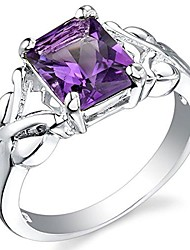 cheap -amethyst ring in sterling silver, designer criss-cross solitaire, radiant cut 9x7mm, 2 carats, comfort fit, size 5