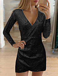 cheap -women sexy v neck sequined self cultivation slim elegant bodycon mini dress evening party gown grey