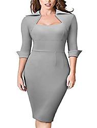 cheap -women's lapel square neck 3/4 sleeve business professional work dress b471 - blue - 16