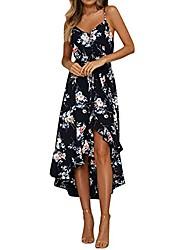 cheap -fashion womens holiday floral plunge ladies maxi long irregular casual summer floral print beach dress black