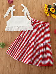 cheap -Toddler Girls' Clothing Set Print Sleeveless Casual White Basic Regular Regular