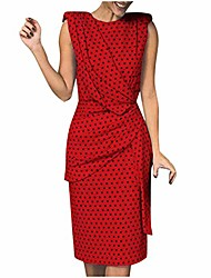cheap -womens dress printed polka dot sleeveless crew neck twist waist knot size bodycon cocktail dress summer sexy casual beach holiday party club work midi dresses (l, red)