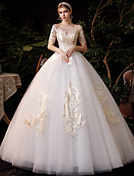 cheap -Princess Ball Gown Wedding Dresses Jewel Neck Floor Length Lace Tulle Half Sleeve Formal Romantic with Appliques 2021