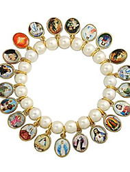 cheap -glass crystal beads stretch bracelet with 21 medals of mary, jesus & other saints - made in brazil (white)