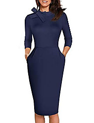 cheap -women's vintage tie neck slim business cocktail dress with pocket b602 (s, dark blue)