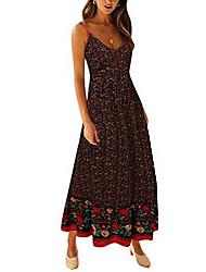 cheap -Women's Strap Dress Maxi long Dress Screen Color Black Red Sleeveless Pattern Spring & Summer Casual 2021 S M L XL
