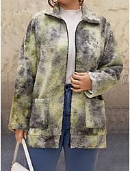 cheap -Women's Plus Size Patchwork Tie Dye Going out Long Teddy Coat
