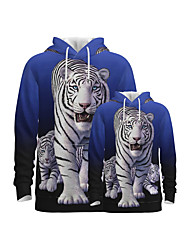 cheap -Family Look Active Tiger Graphic Optical Illusion Animal Print Long Sleeve Regular Hoodie & Sweatshirt Blue