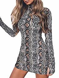 cheap -womens dressing gown, women fashion print long sleeve turtleneck snake grain hip sexy dress(gray, m)