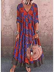 cheap -Women's Swing Dress Maxi long Dress - 3/4 Length Sleeve Print Patchwork Print Fall Casual 2021 Red Green Gray M L XL XXL 3XL