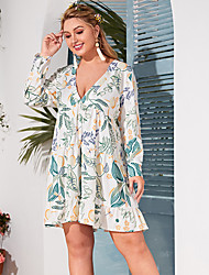 cheap -Women's Plus Size Print Print Casual Long Sleeve Spring & Summer Short Mini Dress A Line Dress