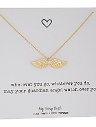 cheap -dainty angel wing necklace (gold plated brass)