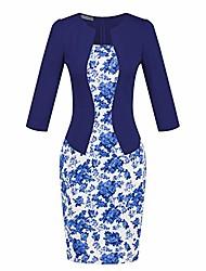 cheap -women's elegant 3/4 sleeve pencil dress wear to work business bodycon one-piece splicing dress multicoloured-6 size 2xl