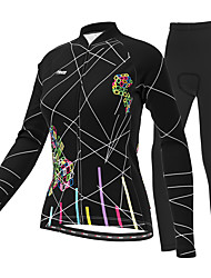cheap -21Grams Women's Long Sleeve Cycling Jersey with Tights Winter Black Purple Yellow Plus Size Bike Breathable Quick Dry Sports Lines / Waves Mountain Bike MTB Road Bike Cycling Clothing Apparel