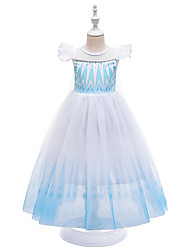cheap -Princess Fairytale Elsa Dress Party Costume Flower Girl Dress Girls' Movie Cosplay Cosplay Costume Party Purple Blue Pink Dress Halloween Children's Day Masquerade Polyester