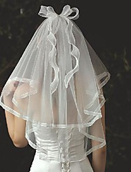 cheap -Two-tier Stylish / Cute Wedding Veil Elbow Veils with Trim Tulle