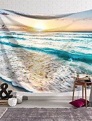 cheap -wall tapestry art decor blanket curtain hanging home bedroom living room decoration sunset beach waves polyester