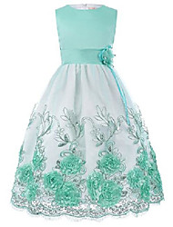 cheap -girls princess party lace formal 3/4 sleeve gown dress green 4-5 years
