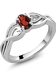 cheap -925 sterling silver oval red garnet women engagement ring (0.55 cttw, gemstone birthstone, available 5,6,7,8,9) (size 5)