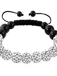 cheap -disco ball bead bracelet white 10mm synthetic crystal inspired handmade adjustable